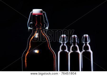 bottle of beer on black
