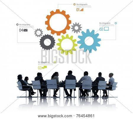 Silhouttes of Business People in a Meeting