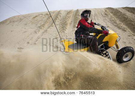 Sand Spray In The Dunes On Atv