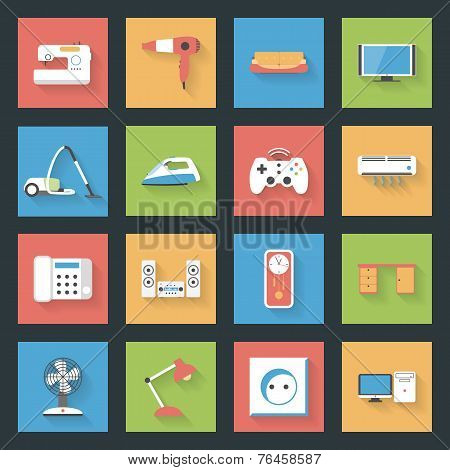 Home Furniture And Appliances Flat Icons Set  With Shadows