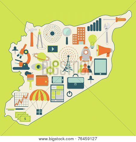Map Of Syria With Technology Icons
