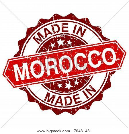 Made In Morocco Red Stamp Isolated On White Background