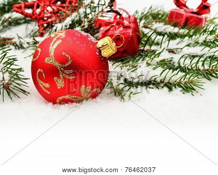 Closeup View Of Red Christmas Bauble With Gifts