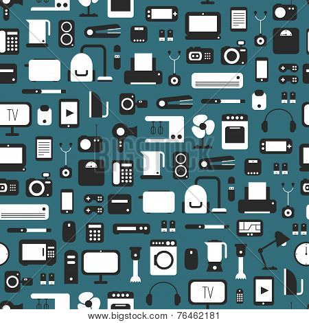 Seamless pattern of electronic devices and home appliances colorful icons set in flat style.