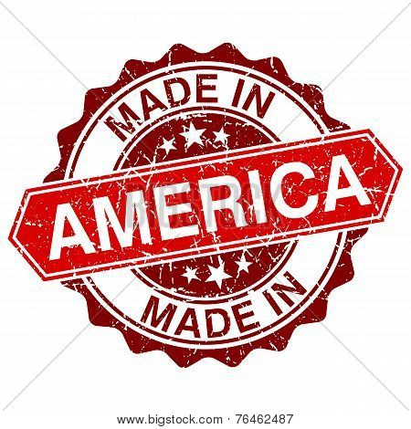Made In America Red Stamp Isolated On White Background