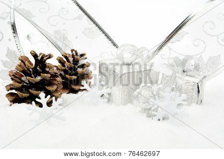 Silver Christmas Baubles,gifts,snowflake With Silver Ribbon On S
