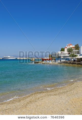 Tavern On The Sea Shore Of The Bay Of The Island Of Mykonos