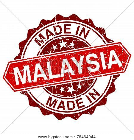 Made In Malaysia Red Stamp Isolated On White Background