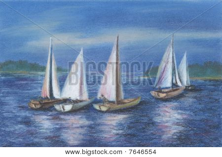 Yachts By The Obsky Sea