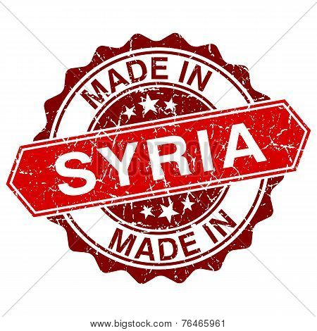 Made In Syria Red Stamp Isolated On White Background
