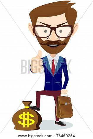 Hipster Businessman Standing on the Bag with Dollars, Vector