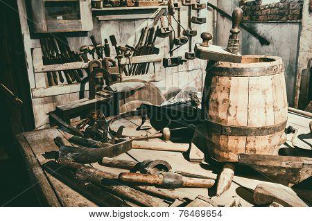 Old Hand Tools In Vintage Workshop