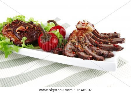 Beef Meat Slices On Ceramic Plate