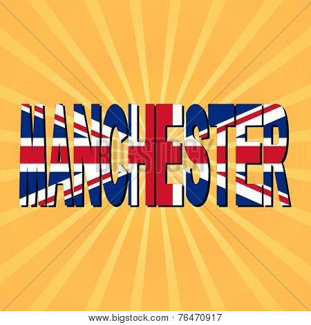 Manchester flag text with sunburst illustration