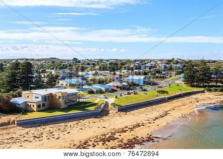 coastline and town of apollo bay ,australia