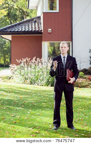 Elegant House Agent Wearing Suit