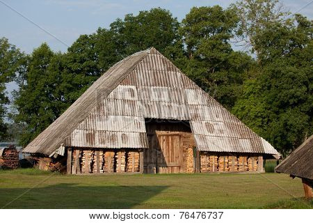 Old Barn With Firewood