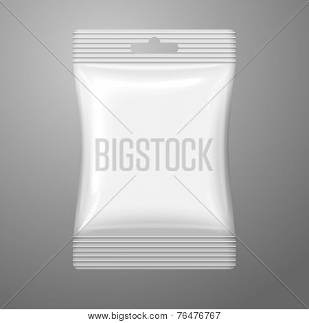 Blank white plastic sachet with hanging hole on the cash and place for your design, branding. Vector