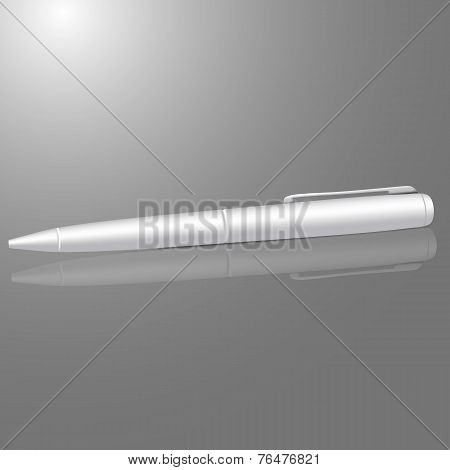 Vector blank white ball pen isolated on gray background with reflection, for your branding or design