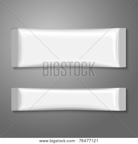 Blank white plastic stick pack for coffee, sugar, salt, spices. Vector