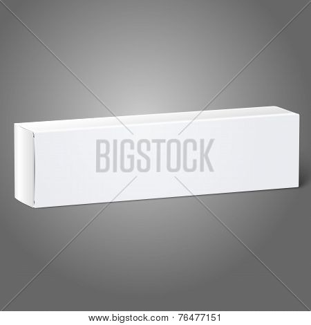 Realistic white blank paper package box for oblong stuff - toothpaste, cosmetics, medicine etc.