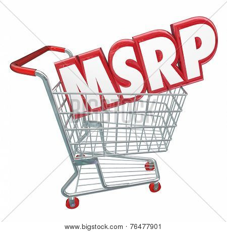 MSRP 3d red letters abbreviation in a shopping cart to illustrate manufacturer's suggested retail price for a product or service at a store