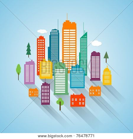 Vector flat building design cityscape background