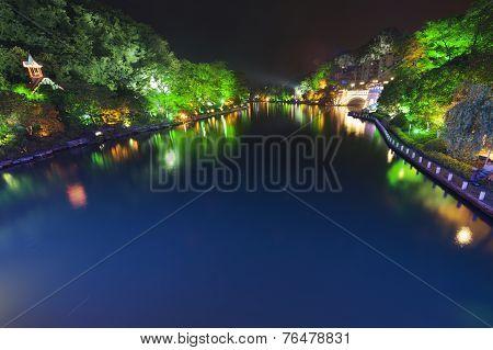 Guilin city at night, Guangxi province, China.