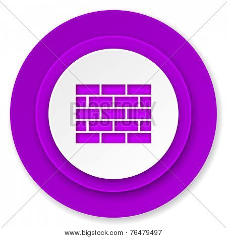 firewall icon, violet button, brick wall sign