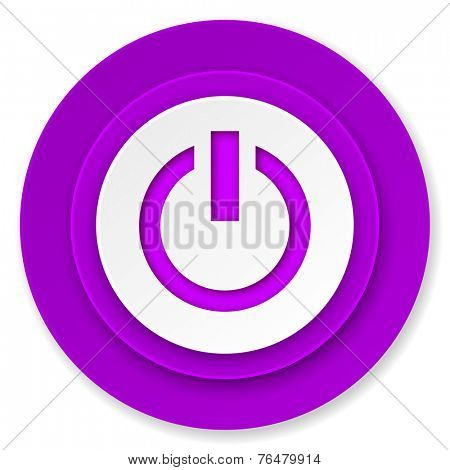 power icon, violet button, on off sign