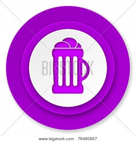 beer icon, violet button, mug sign