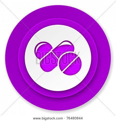 medicine icon, violet button, drugs symbol, pills sign