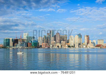 Boston Skyline By Night From East Boston, Massachusetts - Usa