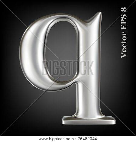 Metal alphabet lowercase vector symbol - q