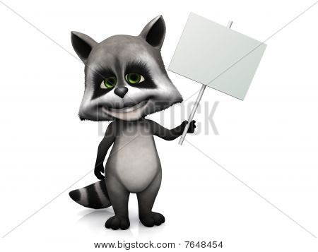 Cute Cartoon Raccoon Holding Blank Sign.