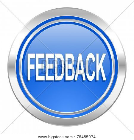 feedback icon, blue button