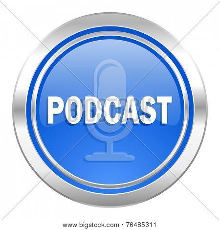 podcast icon, blue button