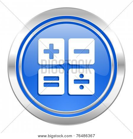 calculator icon, blue button, calc sign