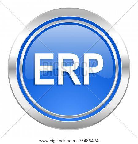 erp icon, blue button