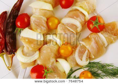Chicken Shish Kebab On Plate