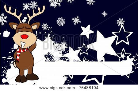 xmas red nose reindeer cartoon background