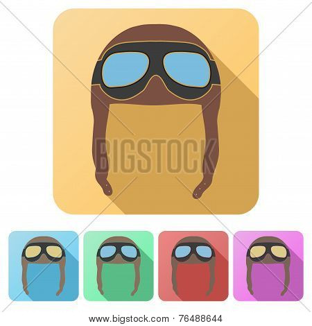 Set Flat icons of Retro aviator pilot helmet with goggles. Isolated on white