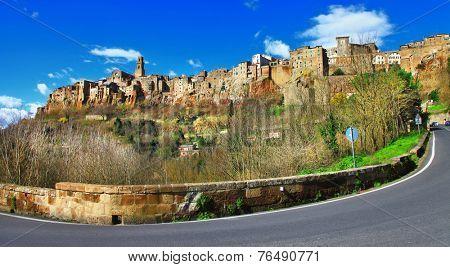 scenic tufa town Pitigiano, Tuscany , Italy