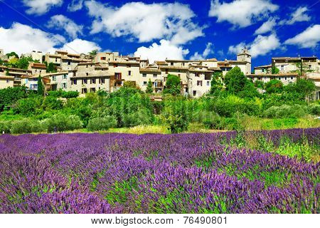 scenery of Provence - view of Saignon village and lavander field