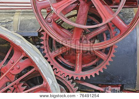 Closeup Of Gears On An Antique Steam Engine