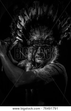 War Native, American Indian chief with big feather headdress