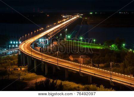 Night View Of The Khabarovsk Bridge Across The Amur River