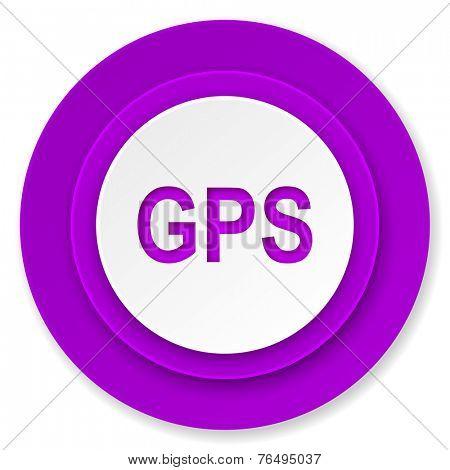 gps icon, violet button