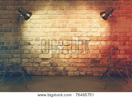 photo studio in old room with brick wall, retro filtered, instagram style