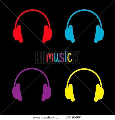 Set Of Headphones And Colorful Word Music. Card.